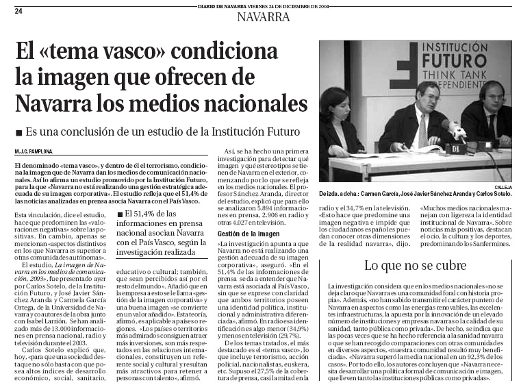 """El """"tema vasco"""" condiciona la imagen que ofrecen de Navarra los medios nacionales"""