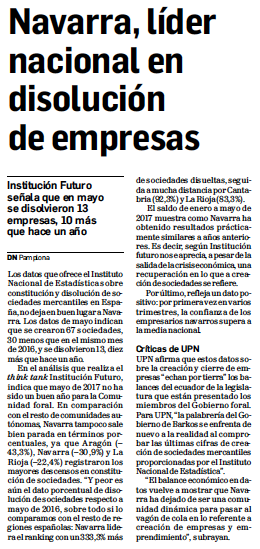 Navarra, líder nacional en disolución de empresas