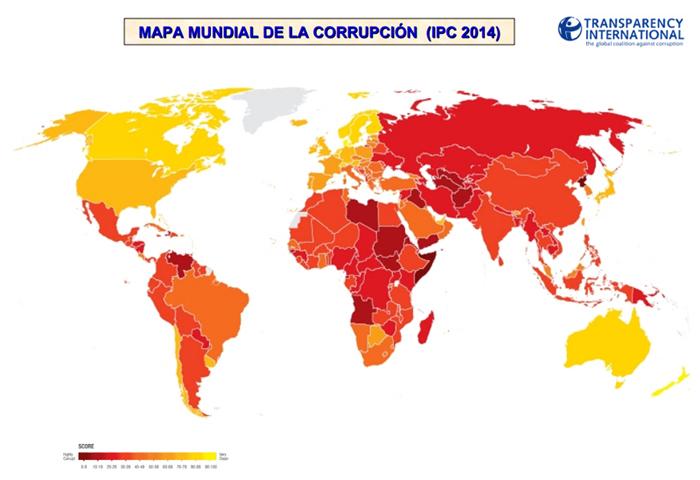 Mapa mundial de la corrupción pública