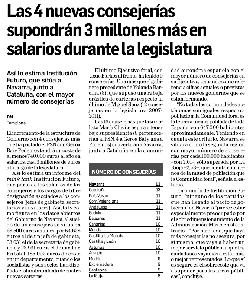Las 4 nuevas consejerías supondrán 3 millones más en salarios durante la legislatura