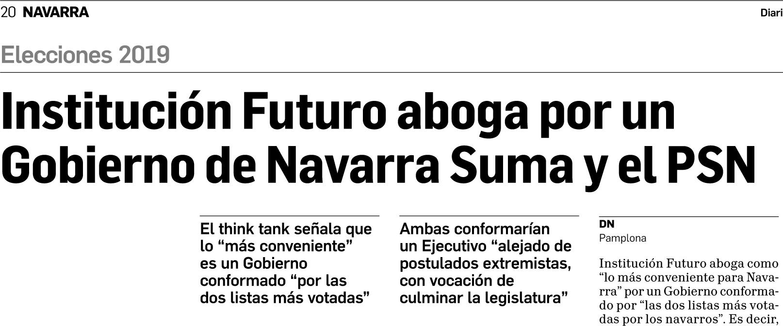 Institución Futuro aboga por un Gobierno de Navarra Suma y el PSN