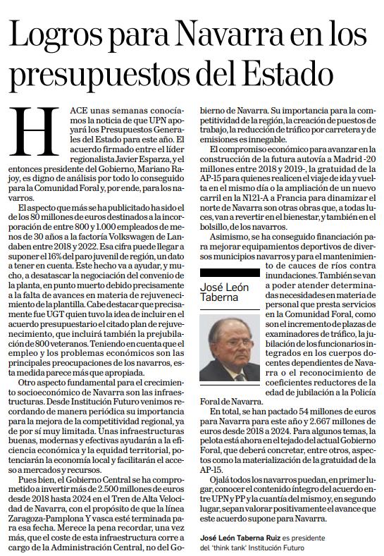Logros para Navarra en los presupuestos del Estado