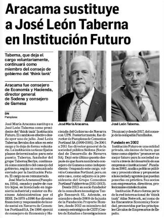 Aracama sustituye a José León Taberna en Institución Futuro