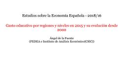 Gasto educativo por regiones y niveles en 2015 y su evolución desde 2000