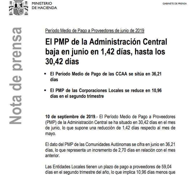 Período Medio de Pago a Proveedores de junio de 2019  Ministerio de Hacienda. Gobierno de España