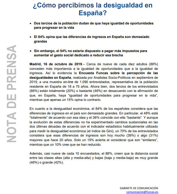 Encuesta Funcas sobre la percepción de las desigualdades en España  FUNCAS