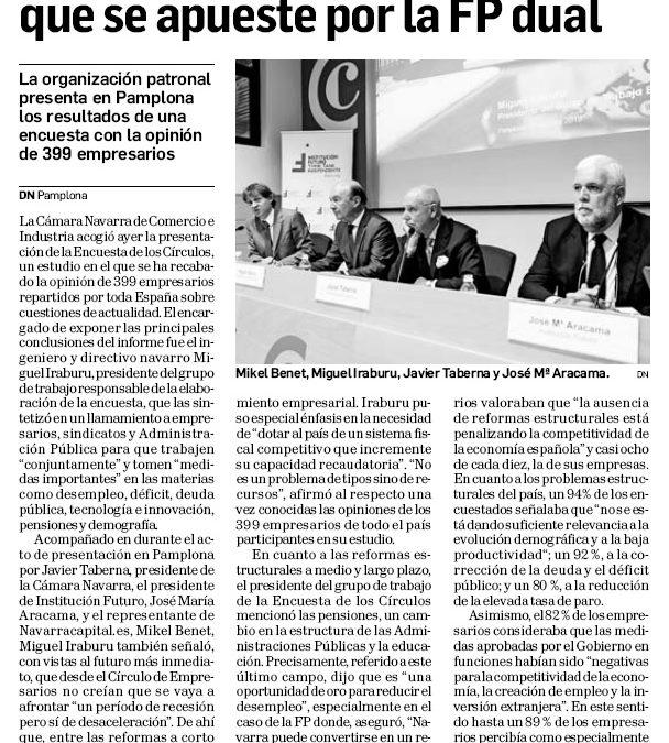 El Círculo de Empresarios pide que se apueste por la FP dual  Diario de Navarra, 2 de octubre de 2019
