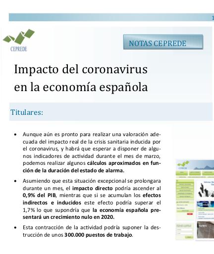 Impacto del coronavirus en la economía española  CEPREDE