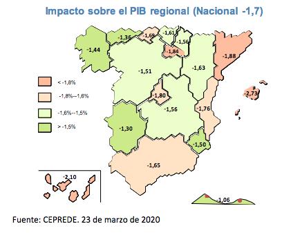 Impacto regional del estado de alarma  CEPREDE