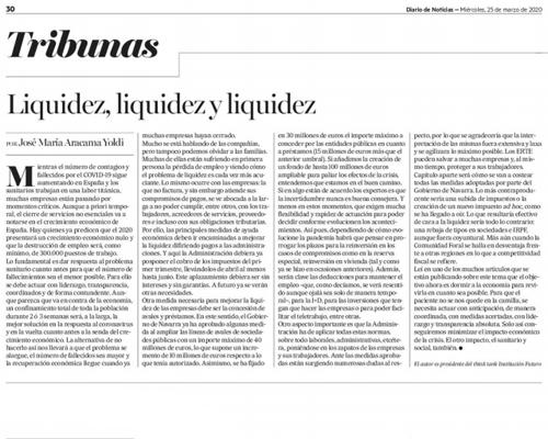Liquidez, liquidez y liquidez  Diario de Noticias  |  José María Aracama, presidente de Institución Futuro