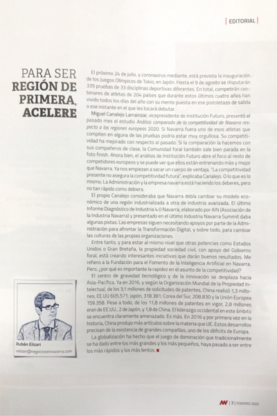 Para ser región de primera, acelere  Negocios en Navarra