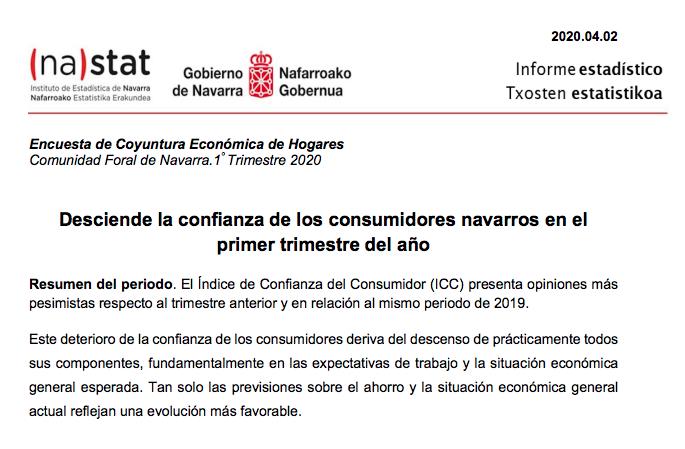 Encuesta de Coyuntura Económica de Hogares. Navarra. 1º trimestre 2020  Nastat