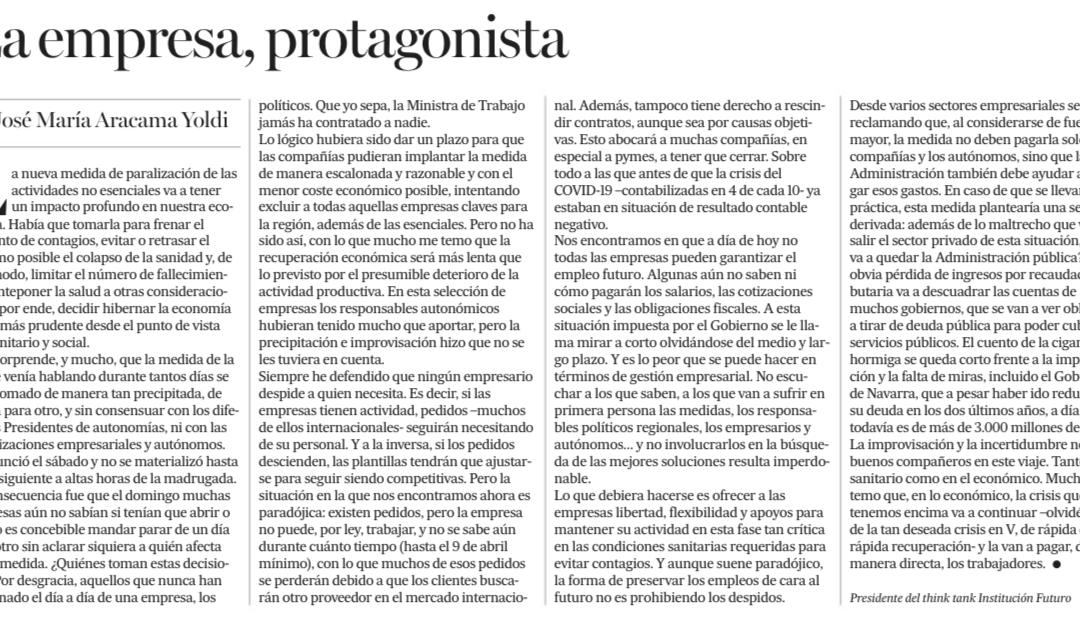 La empresa, protagonista  Diario de Noticias | José María Aracama, presidente de Institución Futuro