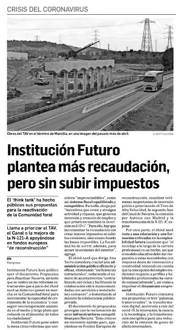 Institución Futuro plantea más recaudación, pero sin subir impuestos  Diario de Navarra