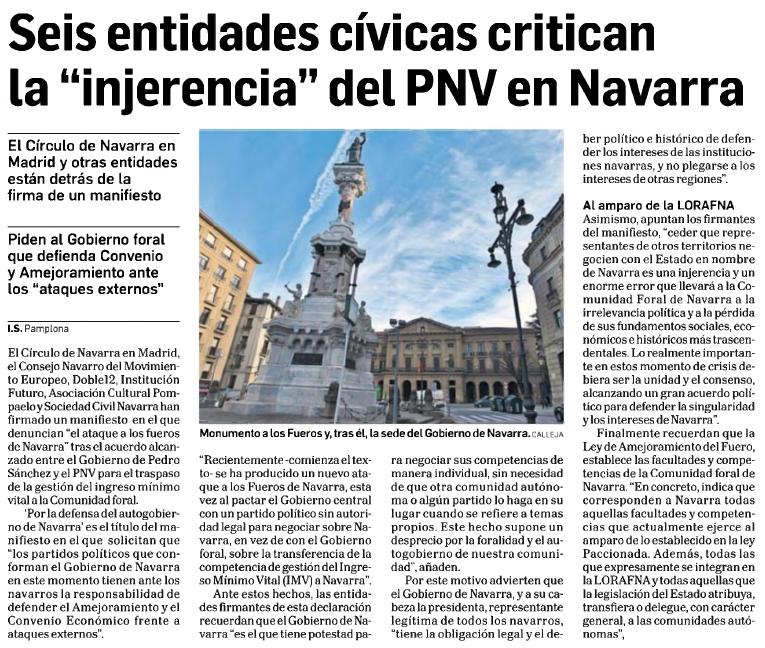 """Seis entidades cívicas critican la """"injerencia"""" del PNV en Navarra  Diario de Navarra"""