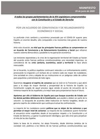 Por un Acuerdo de Convivencia y de Relanzamiento Económico y Social  Manifiesto 20 de junio de 2020