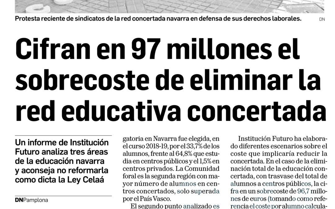 Cifran en 97 millones el sobrecoste de eliminar la red educativa concertada  Diario de Navarra