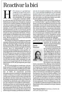 Reactivar la bici  Paula Rouzaut, Economista y miembro del think tank Institución Futuro
