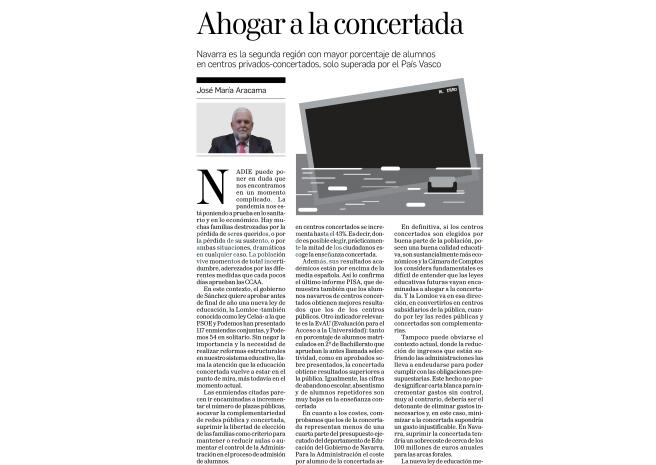 Ahogar a la concertada  José María Aracama Yoldi, Presidente del think tank Institución Futuro  |  Diario de Navarra