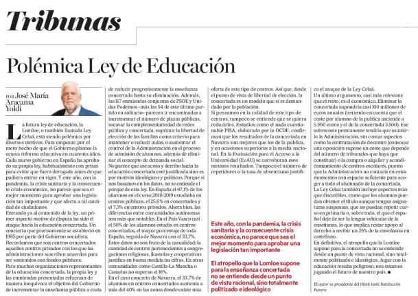 Polémica Ley de Educación  José María Aracama Yoldi, Presidente del think tank Institución Futuro  |  Diario de Noticias