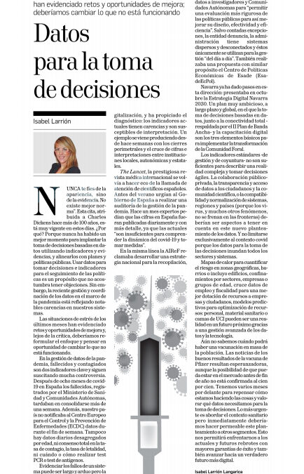 Datos para la toma de decisiones  Isabel Larrión Langarica, Documentalista e Investigadora del think tank Institución Futuro  |   Diario de Navarra