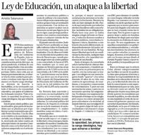 Ley de Educación, un ataque a la libertad  Amelia Salanueva Murguialday Senadora por Navarra del Partido Popular.
