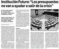"""Institución Futuro: """"Los presupuestos no van a ayudar a salir de la crisis""""  Diario de Navarra"""