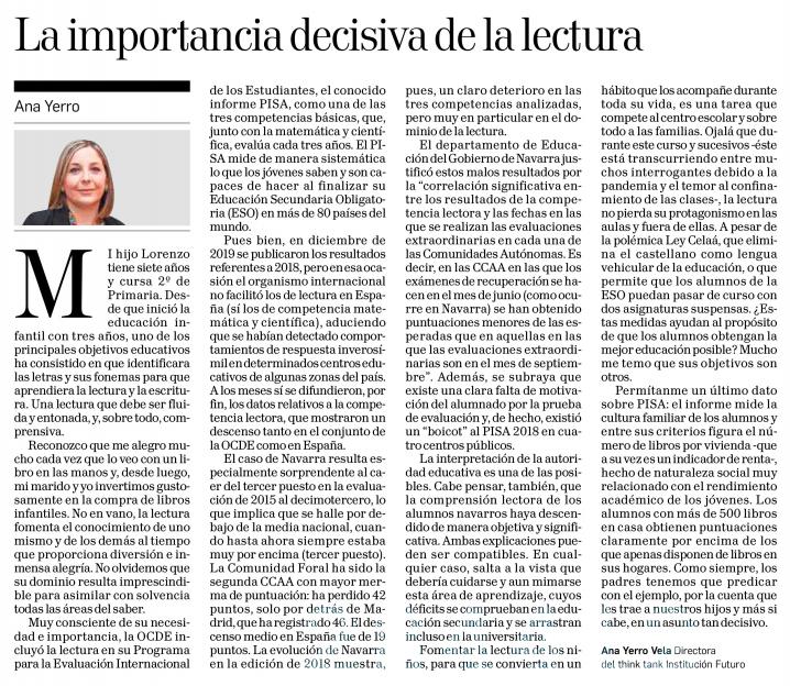 La importancia decisiva de la lectura  Ana Yerro Vela, Directora del think tank Institución Futuro  |  Diario de Navarra