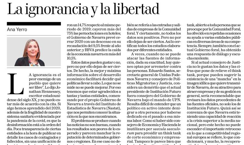 La ignorancia y la libertad  Ana Yerro Vela, Directora de Institución Futuro  |  Diario de Navarra