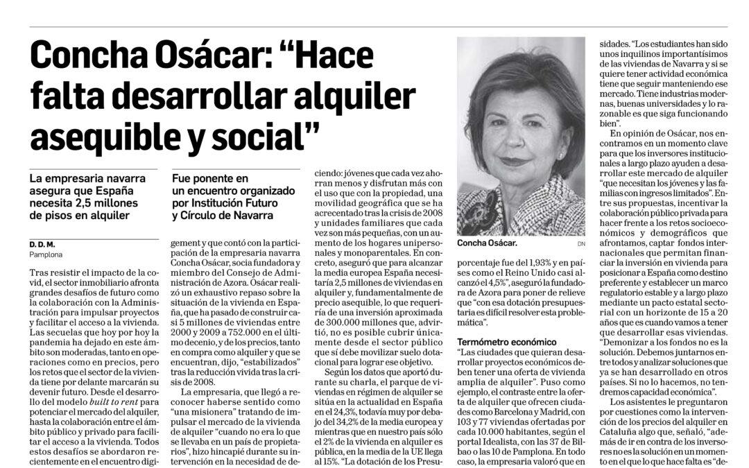 """Concha Osácar: """"Hace falta desarrollar alquiler asequible y social""""  Diario de Navarra"""