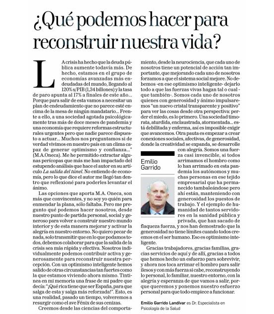 ¿Qué podemos hacer para reconstruir nuestra vida?  Diario de Navarra