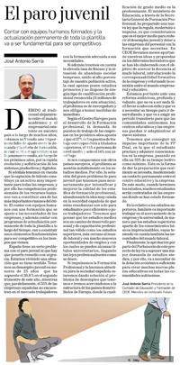 El paro juvenil  José Antonio Sarria, presidente de la Comisión de Educación y Formación de CEOE, y miembro de Institución Futuro | Diario de Navarra